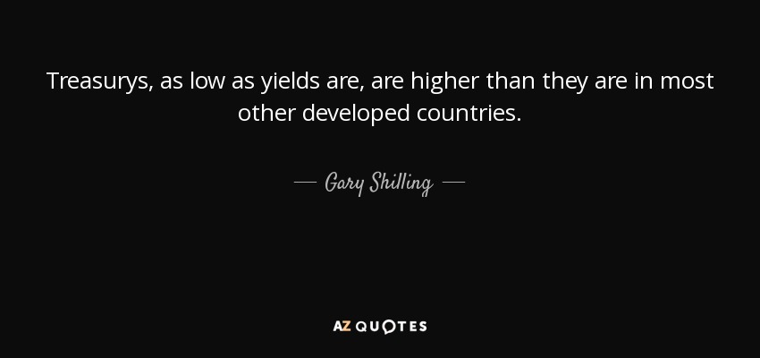 Treasurys, as low as yields are, are higher than they are in most other developed countries. - Gary Shilling