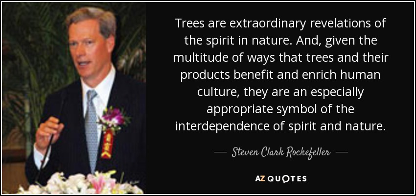 Trees are extraordinary revelations of the spirit in nature. And, given the multitude of ways that trees and their products benefit and enrich human culture, they are an especially appropriate symbol of the interdependence of spirit and nature. - Steven Clark Rockefeller