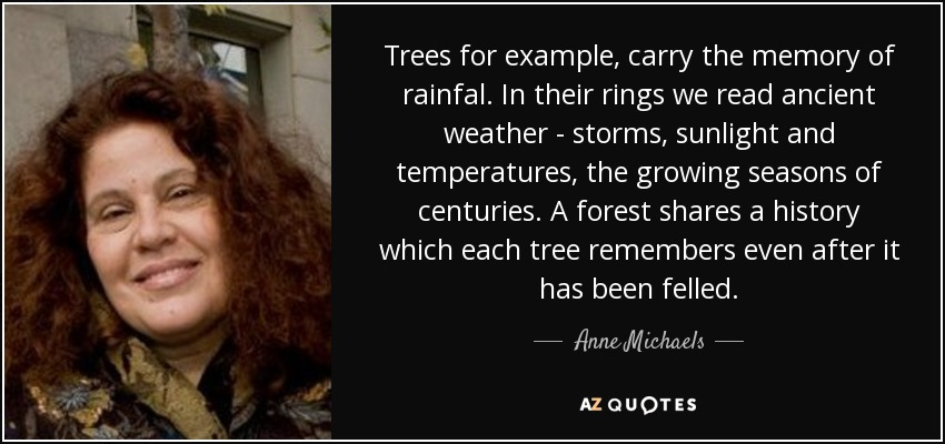 Trees for example, carry the memory of rainfal. In their rings we read ancient weather - storms, sunlight and temperatures, the growing seasons of centuries. A forest shares a history which each tree remembers even after it has been felled. - Anne Michaels