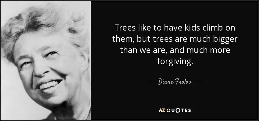 Trees like to have kids climb on them, but trees are much bigger than we are, and much more forgiving. - Diane Frolov