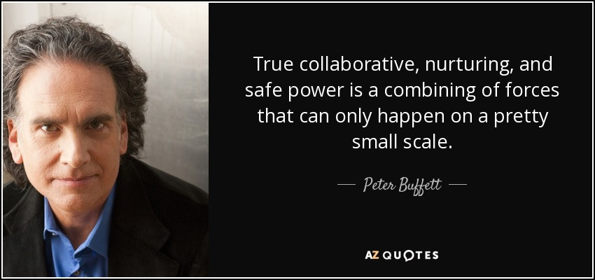 True collaborative, nurturing, and safe power is a combining of forces that can only happen on a pretty small scale. - Peter Buffett