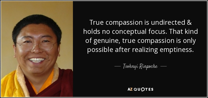 True compassion is undirected & holds no conceptual focus. That kind of genuine, true compassion is only possible after realizing emptiness. - Tsoknyi Rinpoche