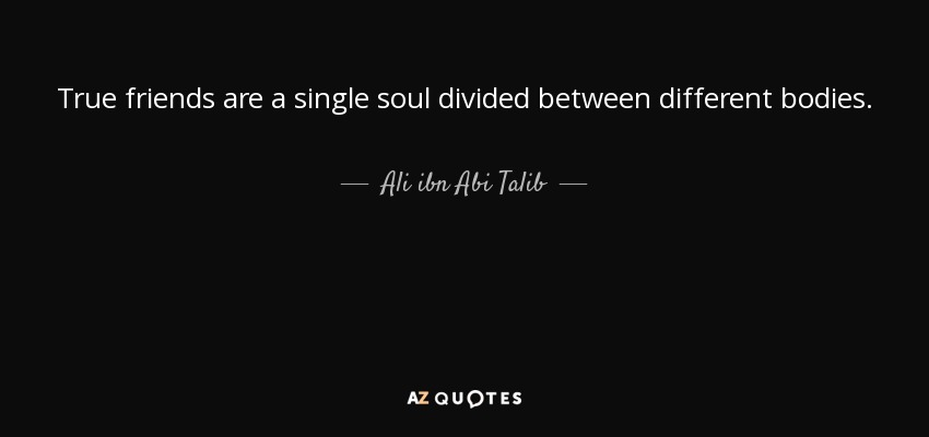 True friends are a single soul divided between different bodies. - Ali ibn Abi Talib