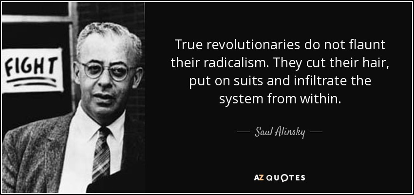 True revolutionaries do not flaunt their radicalism. They cut their hair, put on suits and infiltrate the system from within. - Saul Alinsky