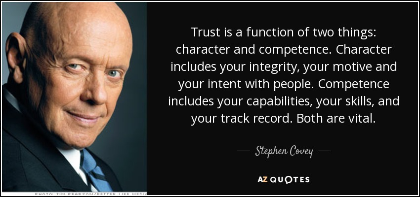 Stephen Covey Quote Trust Is A Function Of Two Things Character