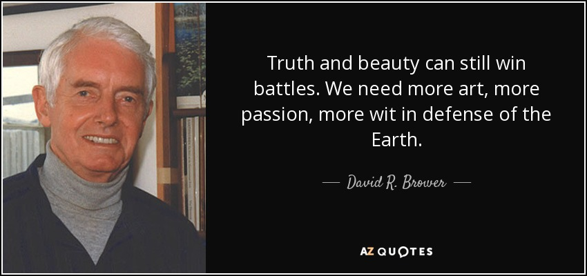 Truth and beauty can still win battles. We need more art, more passion, more wit in defense of the Earth. - David R. Brower