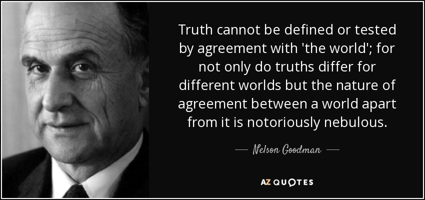 Truth cannot be defined or tested by agreement with 'the world'; for not only do truths differ for different worlds but the nature of agreement between a world apart from it is notoriously nebulous. - Nelson Goodman