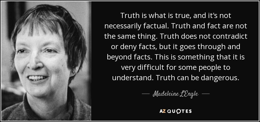 Truth is what is true, and it's not necessarily factual. Truth and fact are not the same thing. Truth does not contradict or deny facts, but it goes through and beyond facts. This is something that it is very difficult for some people to understand. Truth can be dangerous. - Madeleine L'Engle