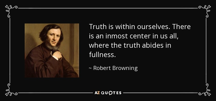 Truth is within ourselves. There is an inmost center in us all, where the truth abides in fullness. - Robert Browning