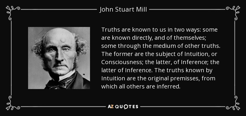 Truths are known to us in two ways: some are known directly, and of themselves; some through the medium of other truths. The former are the subject of Intuition, or Consciousness; the latter, of Inference; the latter of Inference. The truths known by Intuition are the original premisses, from which all others are inferred. - John Stuart Mill