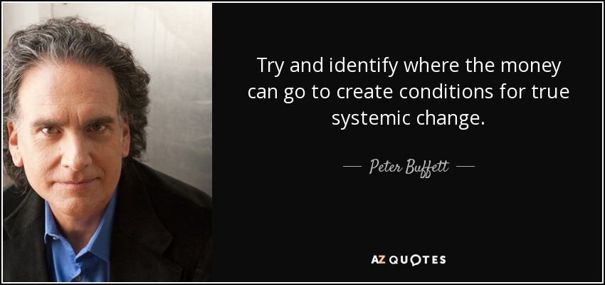 Try and identify where the money can go to create conditions for true systemic change. - Peter Buffett