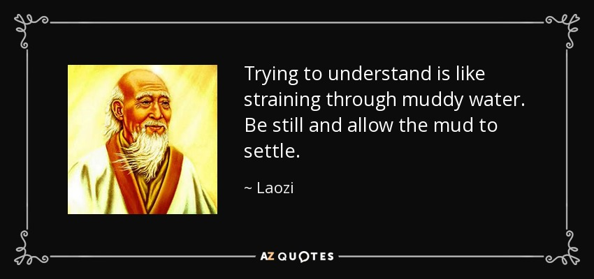 Trying to understand is like straining through muddy water. Be still and allow the mud to settle. - Laozi