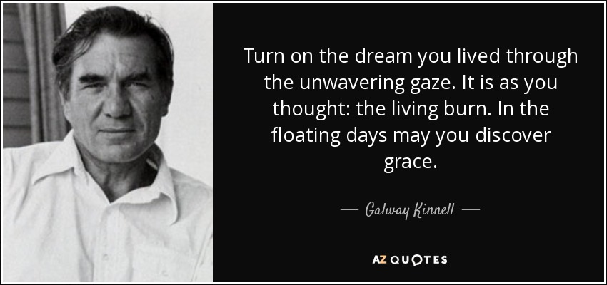 Turn on the dream you lived through the unwavering gaze. It is as you thought: the living burn. In the floating days may you discover grace. - Galway Kinnell