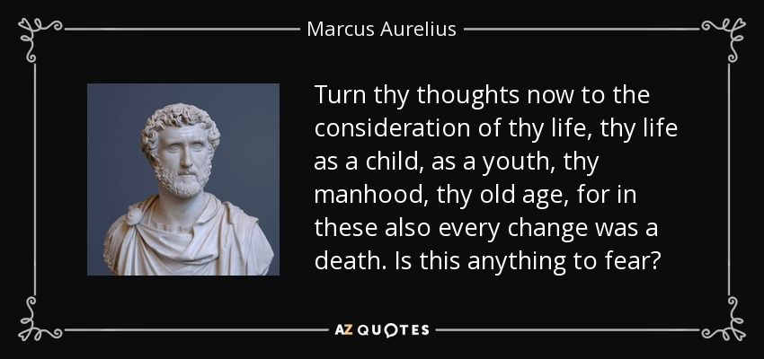 Turn thy thoughts now to the consideration of thy life, thy life as a child, as a youth, thy manhood, thy old age, for in these also every change was a death. Is this anything to fear? - Marcus Aurelius