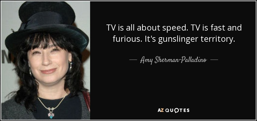 TV is all about speed. TV is fast and furious. It's gunslinger territory. - Amy Sherman-Palladino