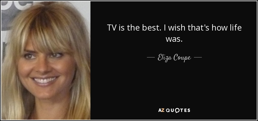 TV is the best. I wish that's how life was. - Eliza Coupe