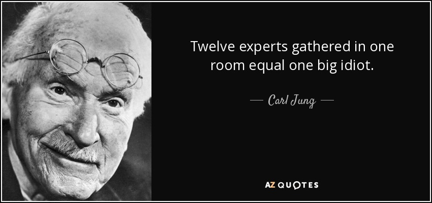 Twelve experts gathered in one room equal one big idiot. - Carl Jung