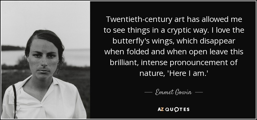 Twentieth-century art has allowed me to see things in a cryptic way. I love the butterfly's wings, which disappear when folded and when open leave this brilliant, intense pronouncement of nature, 'Here I am.' - Emmet Gowin