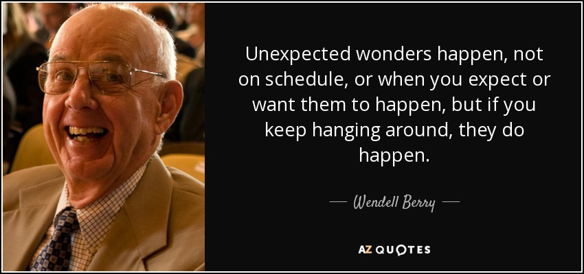 Unexpected wonders happen, not on schedule, or when you expect or want them to happen, but if you keep hanging around, they do happen. - Wendell Berry