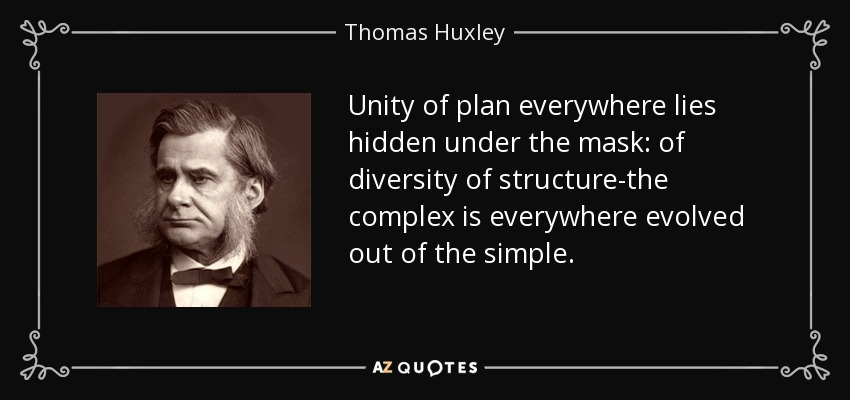 Unity of plan everywhere lies hidden under the mask: of diversity of structure-the complex is everywhere evolved out of the simple. - Thomas Huxley