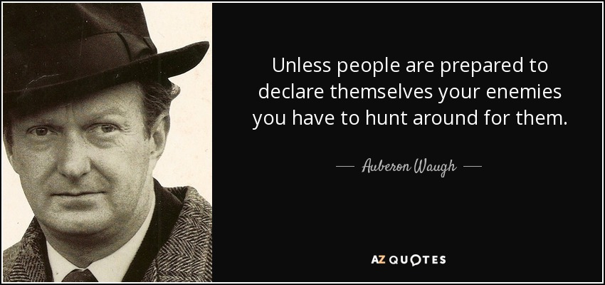 Unless people are prepared to declare themselves your enemies you have to hunt around for them. - Auberon Waugh