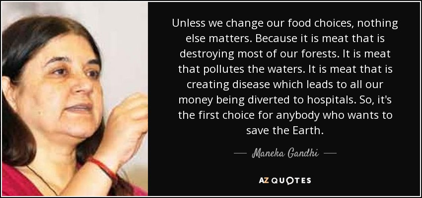 Unless we change our food choices, nothing else matters. Because it is meat that is destroying most of our forests. It is meat that pollutes the waters. It is meat that is creating disease which leads to all our money being diverted to hospitals. So, it's the first choice for anybody who wants to save the Earth. - Maneka Gandhi