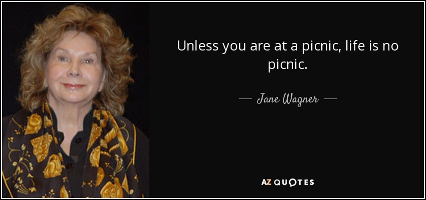 Unless you are at a picnic, life is no picnic. - Jane Wagner