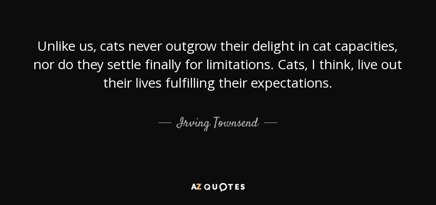 Unlike us, cats never outgrow their delight in cat capacities, nor do they settle finally for limitations. Cats, I think, live out their lives fulfilling their expectations. - Irving Townsend