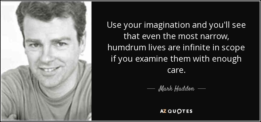 Use your imagination and you'll see that even the most narrow, humdrum lives are infinite in scope if you examine them with enough care. - Mark Haddon