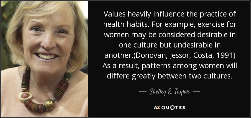 Values heavily influence the practice of health habits. For example, exercise for women may be considered desirable in one culture but undesirable in another.(Donovan, Jessor, Costa, 1991) As a result, patterns among women will differe greatly between two cultures. - Shelley E. Taylor