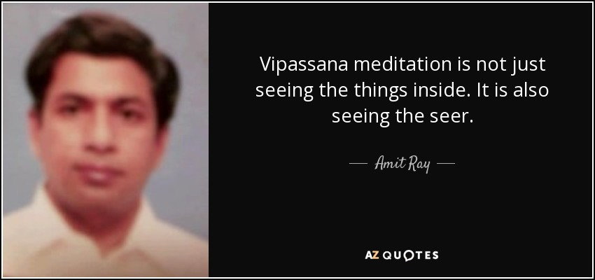 Vipassana meditation is not just seeing the things inside. It is also seeing the seer. - Amit Ray