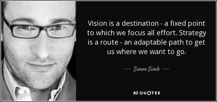Vision is a destination - a fixed point to which we focus all effort. Strategy is a route - an adaptable path to get us where we want to go. - Simon Sinek