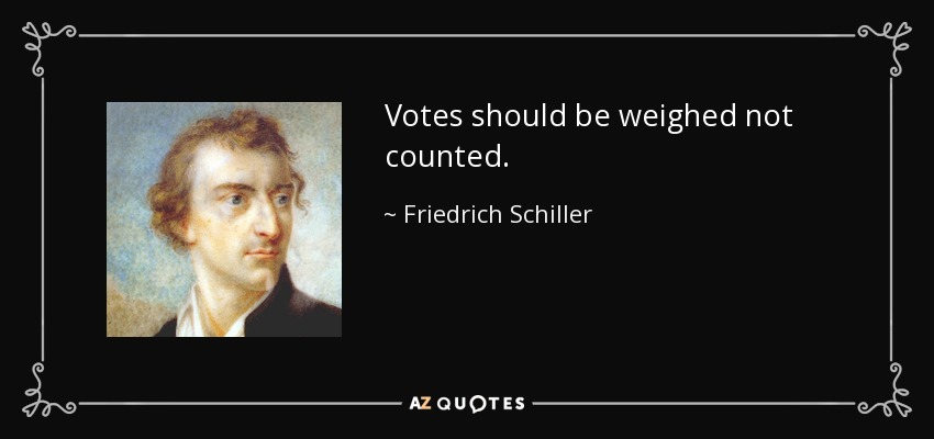 Votes should be weighed not counted. - Friedrich Schiller
