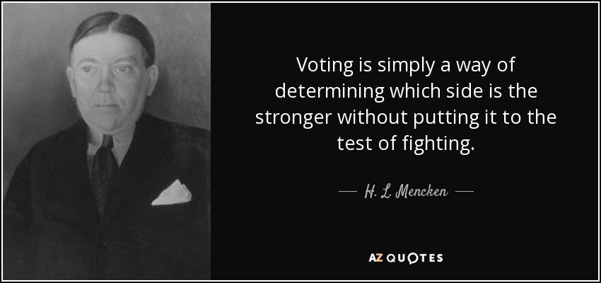 Voting is simply a way of determining which side is the stronger without putting it to the test of fighting. - H. L. Mencken