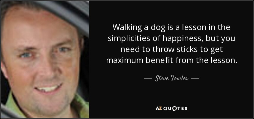 Walking a dog is a lesson in the simplicities of happiness, but you need to throw sticks to get maximum benefit from the lesson. - Steve Fowler