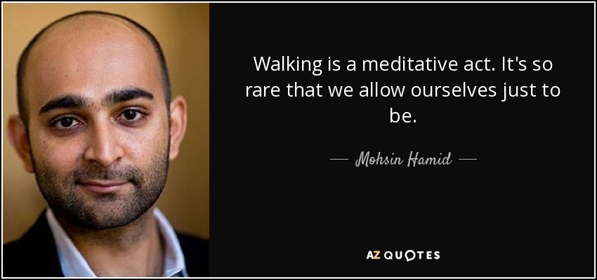 Walking is a meditative act. It's so rare that we allow ourselves just to be. - Mohsin Hamid