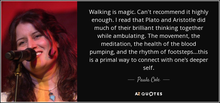 Walking is magic. Can't recommend it highly enough. I read that Plato and Aristotle did much of their brilliant thinking together while ambulating. The movement, the meditation, the health of the blood pumping, and the rhythm of footsteps...this is a primal way to connect with one's deeper self. - Paula Cole