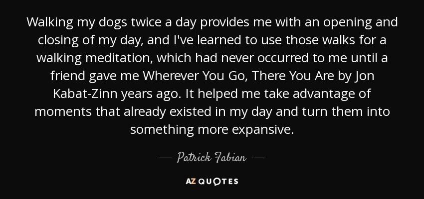 Patrick Fabian Quote Walking My Dogs Twice A Day Provides Me With An