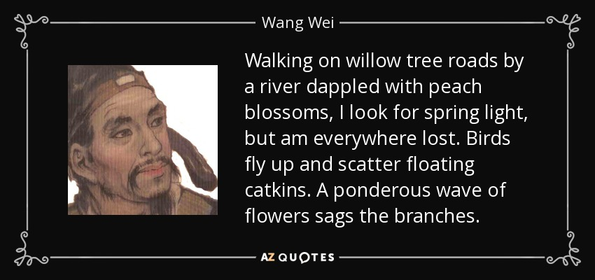 Walking on willow tree roads by a river dappled with peach blossoms, I look for spring light, but am everywhere lost. Birds fly up and scatter floating catkins. A ponderous wave of flowers sags the branches. - Wang Wei