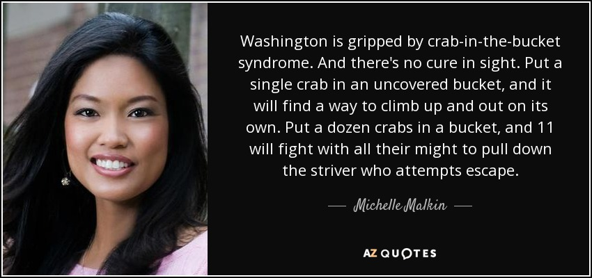 Washington is gripped by crab-in-the-bucket syndrome. And there's no cure in sight. Put a single crab in an uncovered bucket, and it will find a way to climb up and out on its own. Put a dozen crabs in a bucket, and 11 will fight with all their might to pull down the striver who attempts escape. - Michelle Malkin
