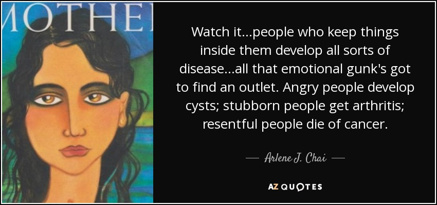 Watch it...people who keep things inside them develop all sorts of disease...all that emotional gunk's got to find an outlet. Angry people develop cysts; stubborn people get arthritis; resentful people die of cancer. - Arlene J. Chai