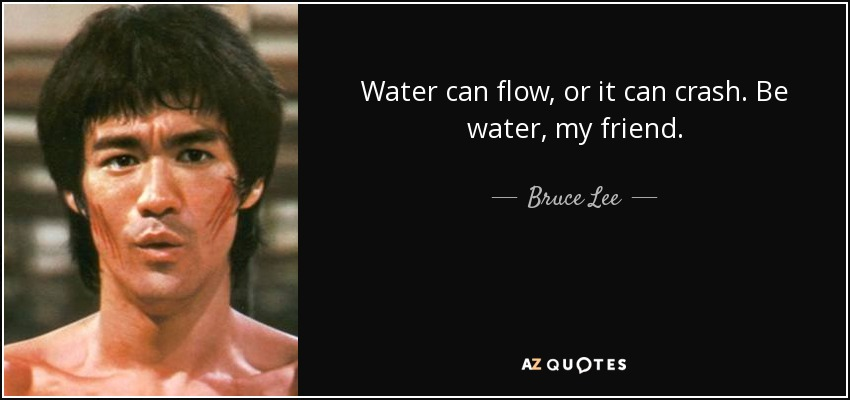 Water can flow, or it can crash. Be water, my friend. - Bruce Lee
