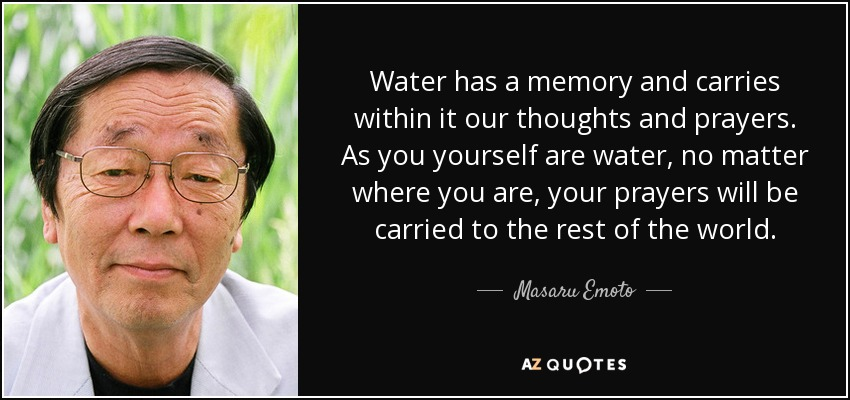 Water has a memory and carries within it our thoughts and prayers. As you yourself are water, no matter where you are, your prayers will be carried to the rest of the world. - Masaru Emoto