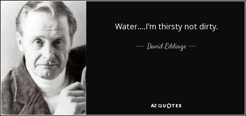 Water....I'm thirsty not dirty. - David Eddings