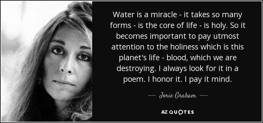 Water is a miracle - it takes so many forms - is the core of life - is holy. So it becomes important to pay utmost attention to the holiness which is this planet's life - blood, which we are destroying. I always look for it in a poem. I honor it. I pay it mind. - Jorie Graham