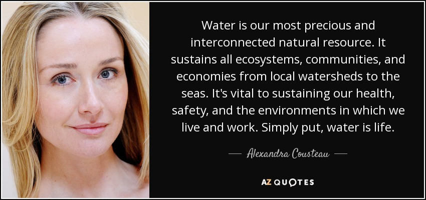 Water is our most precious and interconnected natural resource. It sustains all ecosystems, communities, and economies from local watersheds to the seas. It's vital to sustaining our health, safety, and the environments in which we live and work. Simply put, water is life. - Alexandra Cousteau