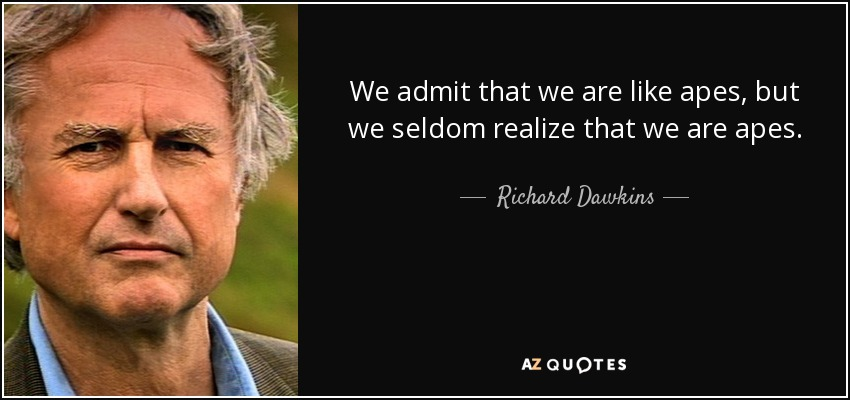 We admit that we are like apes, but we seldom realize that we are apes. - Richard Dawkins