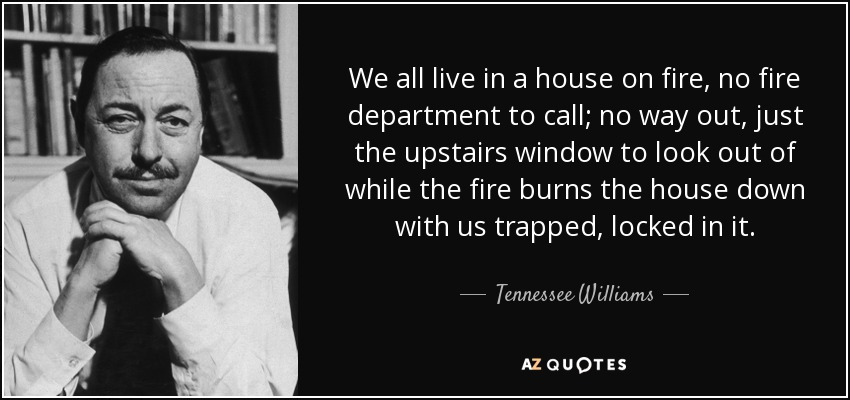 We all live in a house on fire, no fire department to call; no way out, just the upstairs window to look out of while the fire burns the house down with us trapped, locked in it. - Tennessee Williams