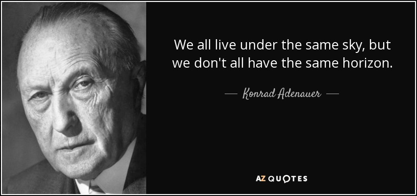 We all live under the same sky, but we don't all have the same horizon. - Konrad Adenauer