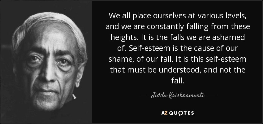 We all place ourselves at various levels, and we are constantly falling from these heights. It is the falls we are ashamed of. Self-esteem is the cause of our shame, of our fall. It is this self-esteem that must be understood, and not the fall. - Jiddu Krishnamurti
